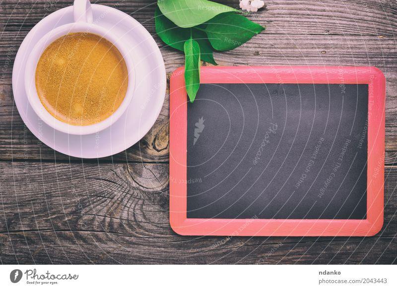 black chalkboard for the inscriptions Breakfast Coffee Espresso Desk Table Restaurant Blackboard Flower Wood Fresh Hot Above Retro White Café drink