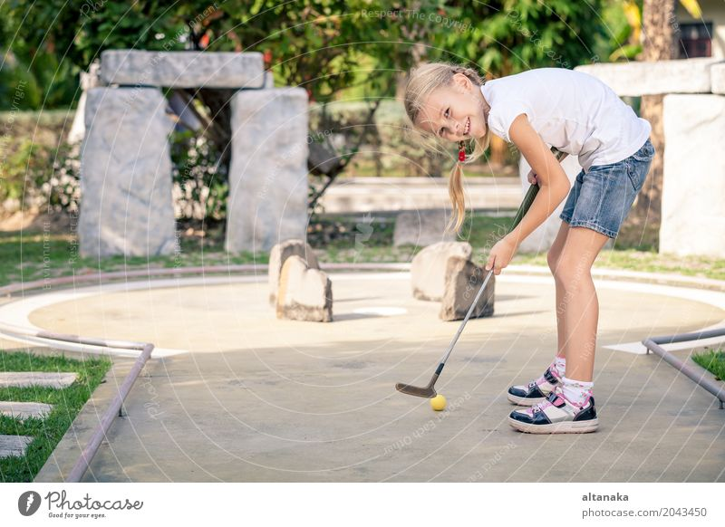 Little girl swinging mini golf club Human being Child Vacation & Travel Summer Relaxation Joy Face Lifestyle Sports Playing Small Happy Freedom School