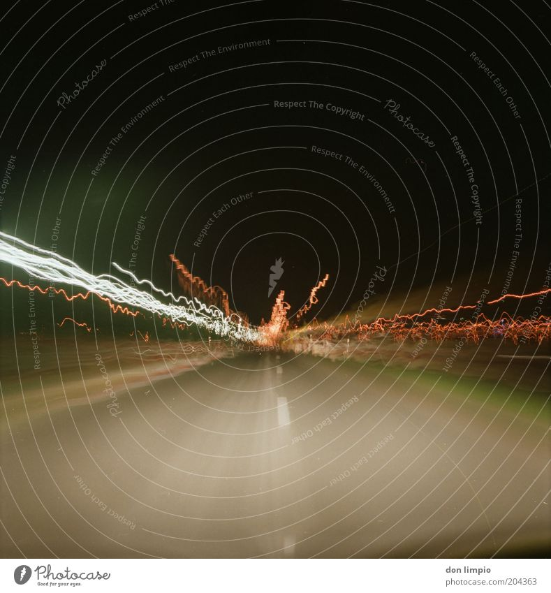 Black Transport Speed Driving Night sky Analog Traffic infrastructure Motoring In transit Medium format Multicoloured Tracer path Flare Beam of light