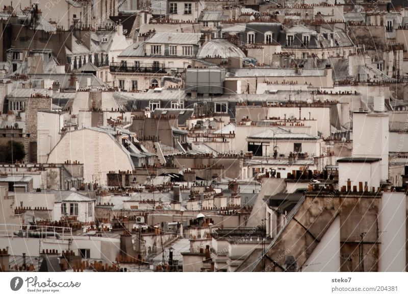 attic Paris France Town Capital city Roof Chimney Roof terrace Gloomy Narrow Neighbor's house Subdued colour Exterior shot Deserted Day City trip