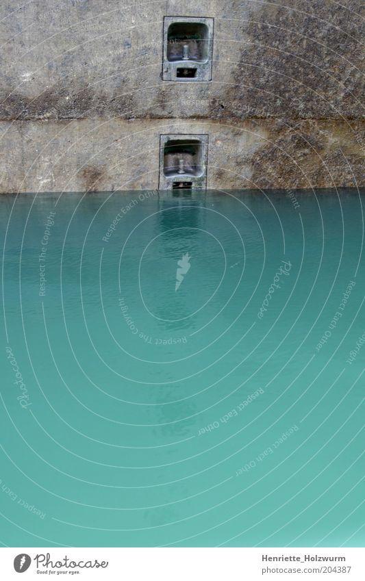 Water Blue Above Gray Concrete Traffic infrastructure Upward Jetty Waterway Channel Surface of water Concrete wall Floodgate Water line