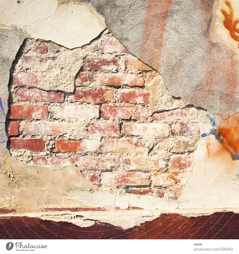 masonry Wall (barrier) Wall (building) Facade Brick Old Authentic Decline Past Transience Derelict Colour photo Exterior shot Abstract Structures and shapes