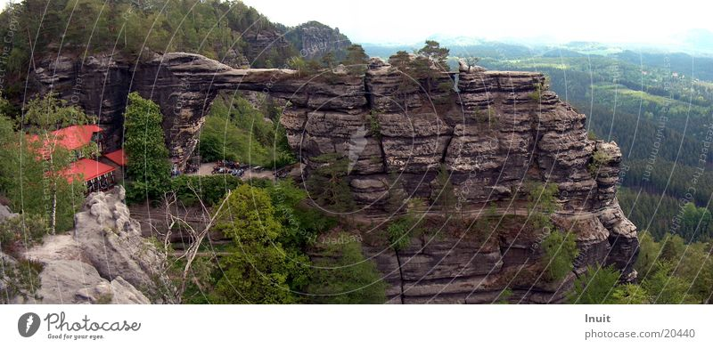 Mountain Large Saxony Rock formation Panorama (Format) Saxon Switzerland Czech Republic Elbsandstone mountains Rock gate