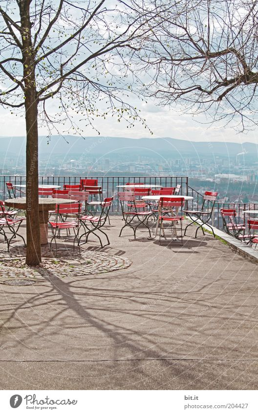 Empty, closed beer garden with beautiful view and tree. Leisure and hobbies Vacation & Travel Tourism Trip Summer already Seating Vantage point Beer garden