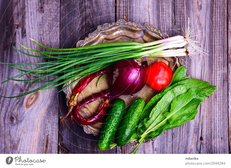 Fresh vegetables on an iron copper plate Food Vegetable Nutrition Vegetarian diet Diet Plate Kitchen Eating Delicious Natural Gray Green Red Tomato cucumber