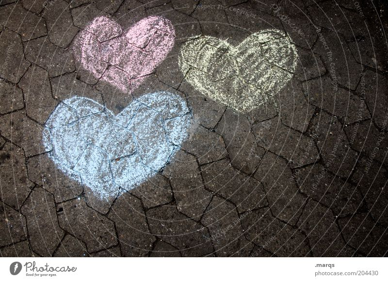Blue Red Love Yellow Emotions Heart Authentic Ground Sign Copy Space Infatuation Loyalty Sympathy Sincere Congratulations Heart-shaped