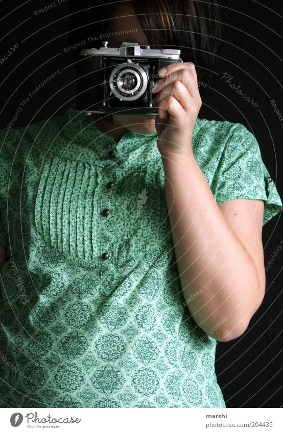 Click Click Style Leisure and hobbies Human being Feminine Woman Adults 1 Artist Old Moody Camera Photographer Photography Take a photo Analog Blouse Green