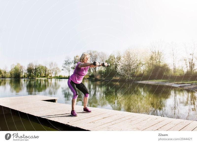 squats Leisure and hobbies Sports Fitness Sports Training Feminine Female senior Woman 60 years and older Senior citizen Nature Landscape Summer
