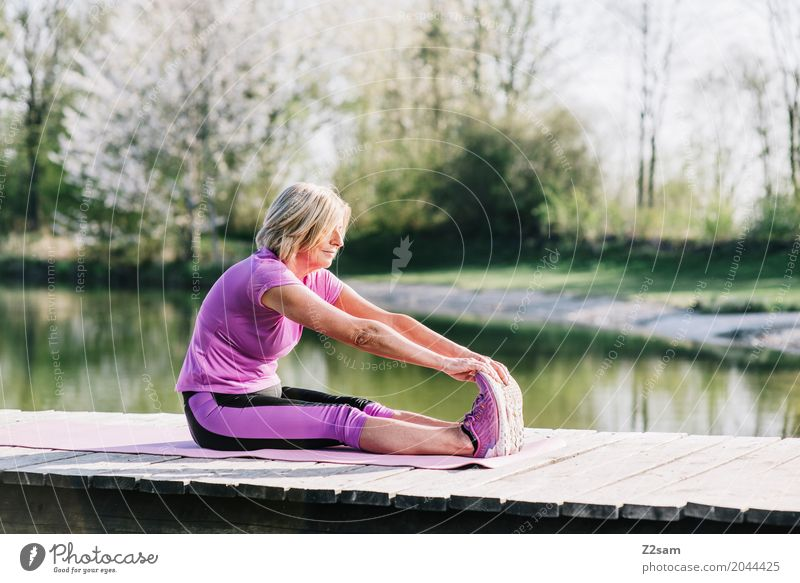 Woman Nature Old Summer Beautiful Relaxation Calm Senior citizen Healthy Sports Feminine Lake Leisure and hobbies Blonde Power Sit