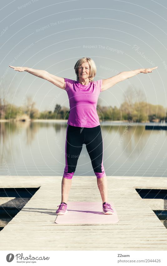 OHMMM! Leisure and hobbies Sports Fitness Sports Training Yoga Feminine Female senior Woman 60 years and older Senior citizen Nature Landscape Summer