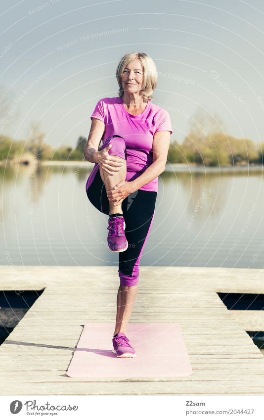 stretching Lifestyle Leisure and hobbies Sports Fitness Sports Training Yoga Warming up Female senior Woman 60 years and older Senior citizen Nature Landscape