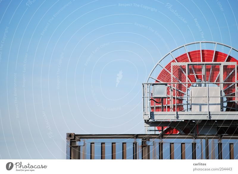 Don't lose the red thread .... Container cable reel Cable Spokes Handrail Sky Logistics Sharp-edged Above Round Blue Red Coil Colour photo Exterior shot