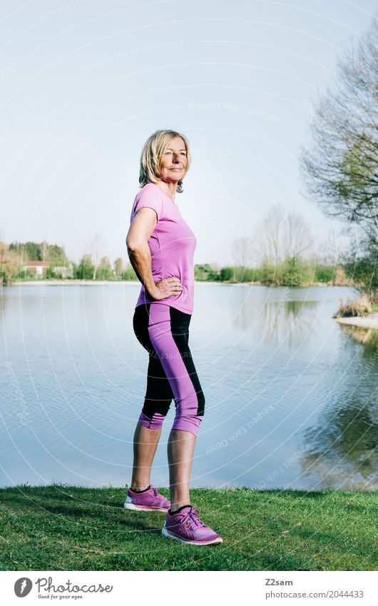 strong enough Lifestyle Elegant Fitness Sports Training Feminine Female senior Woman 60 years and older Senior citizen Nature Landscape Summer Beautiful weather
