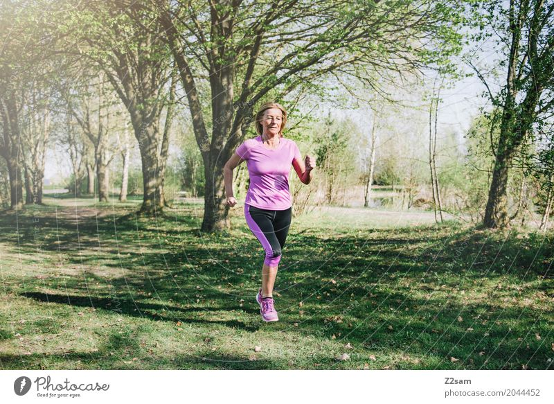 runnnnnnnning Leisure and hobbies Sports Fitness Sports Training Jogging Woman Adults Female senior 60 years and older Senior citizen Nature Sun Summer