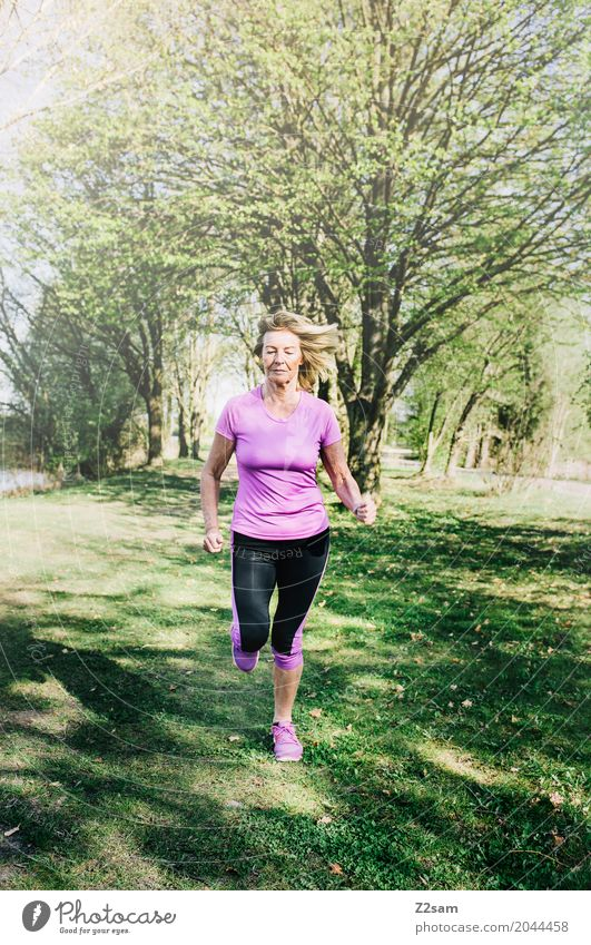 always straight forward Leisure and hobbies Sports Fitness Sports Training Jogging Feminine Female senior Woman 60 years and older Senior citizen Nature
