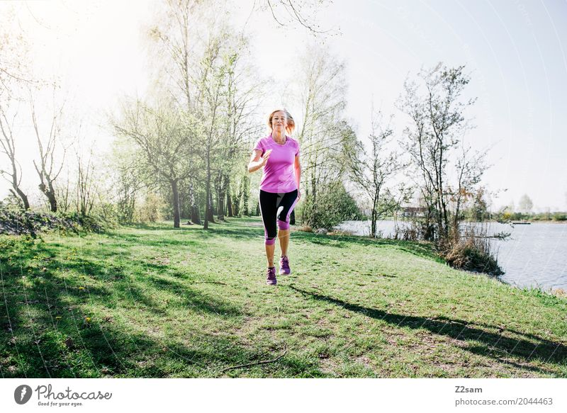 up the ankles Lifestyle Leisure and hobbies Sports Fitness Sports Training Jogging Feminine Female senior Woman 60 years and older Senior citizen Environment