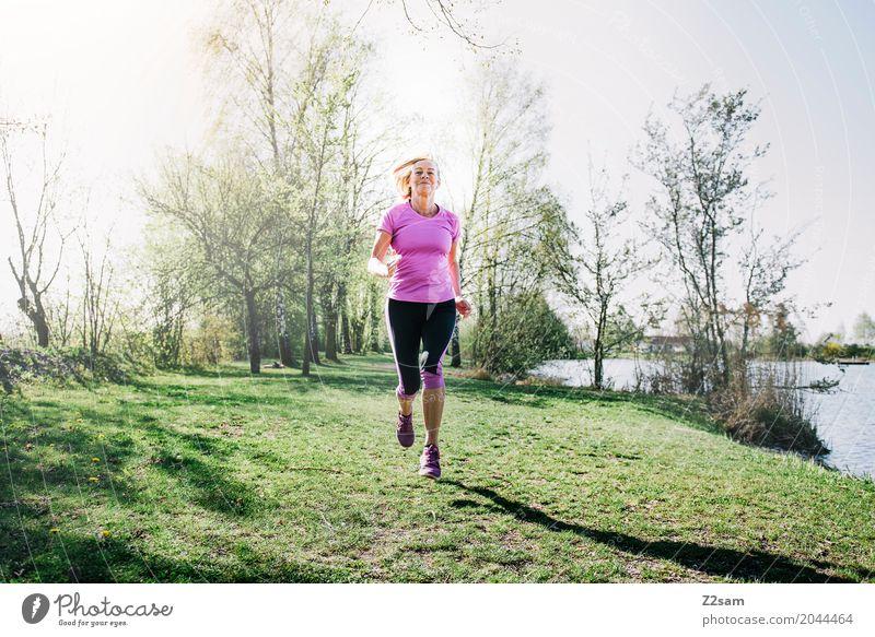 running Leisure and hobbies Sports Fitness Sports Training Jogging Feminine Female senior Woman 60 years and older Senior citizen Nature Landscape Summer