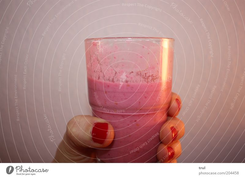 yammi Dairy Products Cold drink Milk Glass Hand Fingers Nail polish Drinking Fresh Delicious Sweet Pink Red To enjoy Colour photo Interior shot Close-up