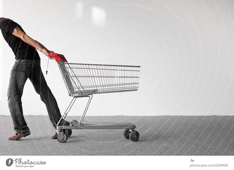 shopping frenzy Shopping Masculine Man Adults 1 Human being Shopping Trolley Save Cheap Thrifty Partially visible Consumption Direction Headless Pull