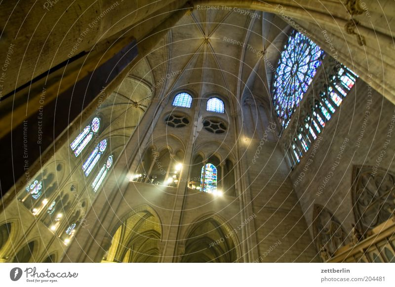 Whitsun Notre Dame Cathedral Religion and faith Church Dome Gothic period Rosette Window Light Shaft of light Domed roof Paris Ile de la Cité his island France