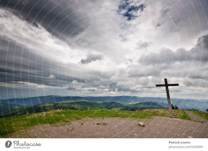 summit cross Environment Nature Landscape Elements Earth Air Horizon Spring Climate Climate change Weather Bad weather Wind Rain Thunder and lightning Plant