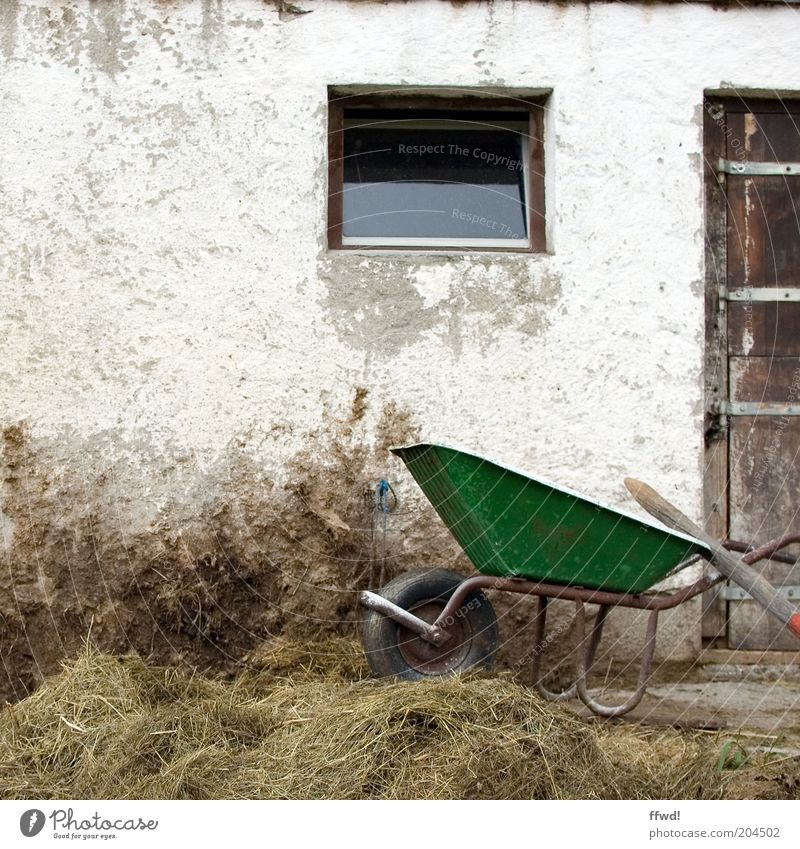Cart in the dirt Building Facade Door Work and employment Old Authentic Dirty Farm Wheelbarrow Manure heap Heap Hay Country life Colour photo Exterior shot Day