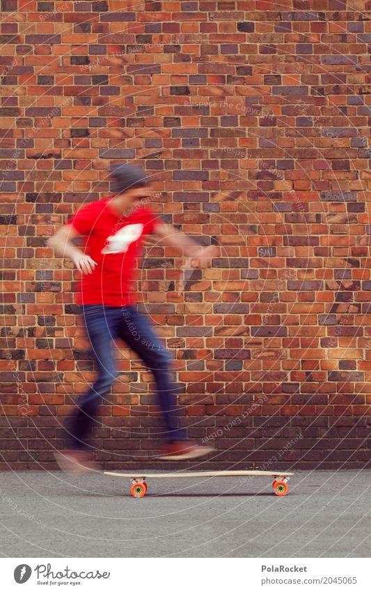 Man Young man Joy Sports Movement Art Jump Esthetic Adventure Athletic Skateboarding Dynamics Brick wall Longboard Erratic