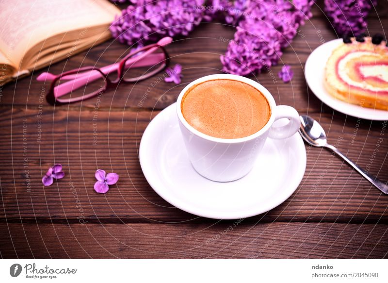 Espresso in a white cup with a saucer White Flower Eating Wood Brown Above Retro To enjoy Book Coffee Bouquet Hot Breakfast Restaurant Café Crack & Rip & Tear