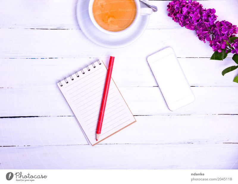 Empty little notebook with a red pencil White Flower Red Wood Above Fresh Communicate Table Paper Coffee Telephone Top PDA Pencil Mug Espresso