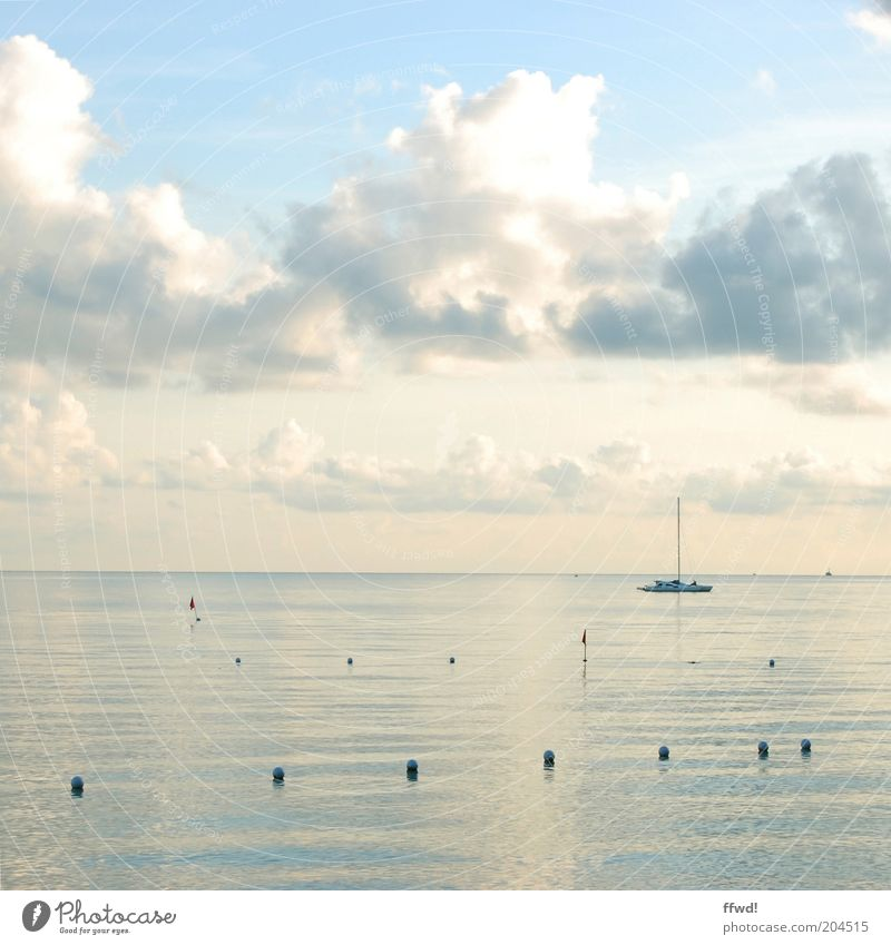 enjoy the silence Vacation & Travel Far-off places Freedom Summer Ocean Water Sky Clouds Horizon Boating trip Sailboat Sailing ship Watercraft Relaxation Dream