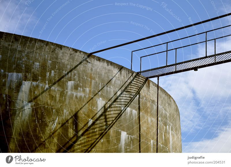 Iceland Economy Sky Clouds Sunlight Beautiful weather Factory Old Decline Past Transience Change Stairs Handrail Fish  factory Tank Concrete Bridge Steel
