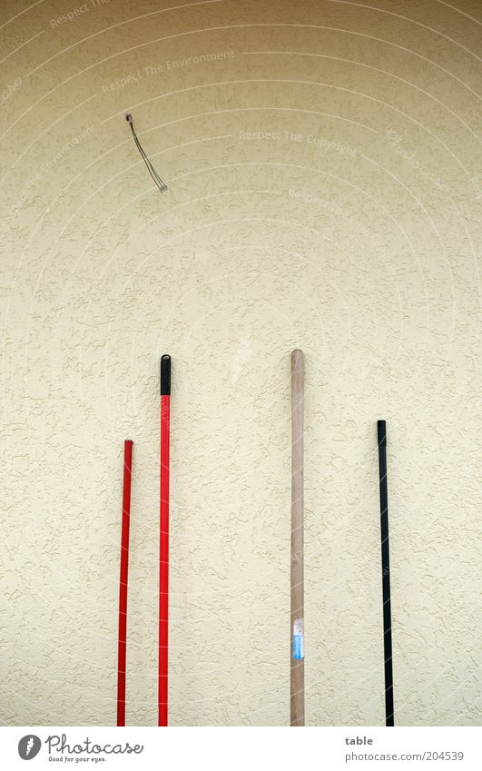 Red Black Wall (building) Wood Gray Wall (barrier) Facade Arrangement Stand Thin Plastic Rod Lean Broom Broomstick Ajar