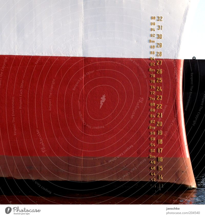 Water White Red Black Digits and numbers Jetty Navigation Watercraft Settings Unit of measurement Measure Cruise Scale Bow Dock Means of transport