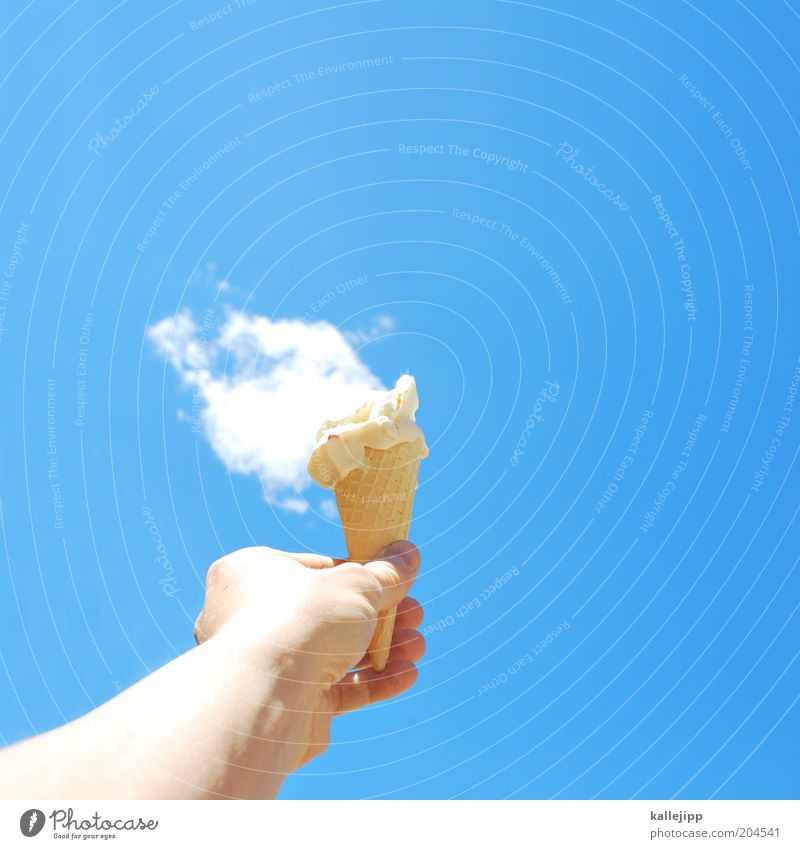 Hand Ice cream Summer Clouds Experimental Nutrition Warmth Arm Fingers To hold on Style Candy To enjoy Whimsical Upward Worm's-eye view