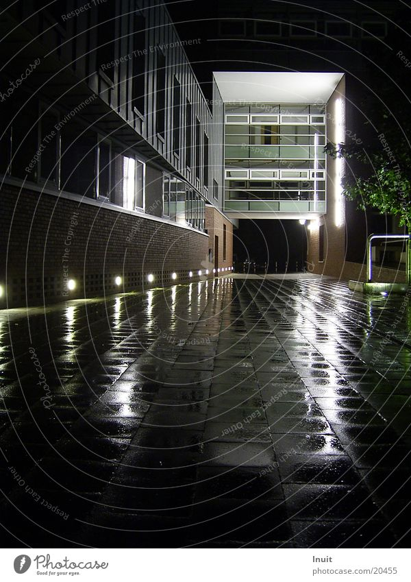 reflection Night Reflection Architecture Rain Glass Lighting