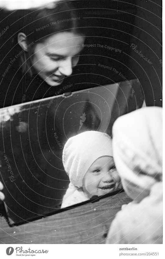 Philip, his mama and his mirror image Portrait photograph Child Woman Young woman Toddler Small Mother Parents Mirror Mirror image Laughter Happiness Cheerful
