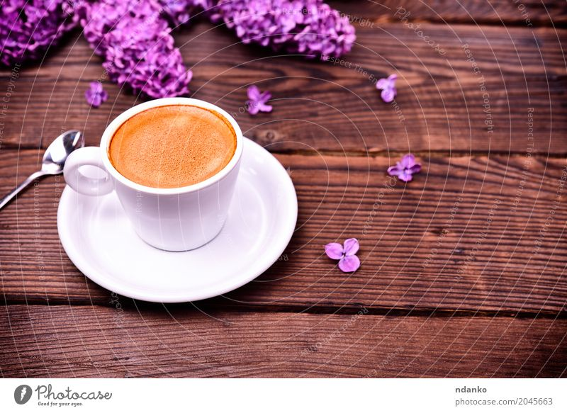 Espresso coffee in a white small cup White Flower Black Wood Brown Above Fresh Retro Table Coffee Bouquet Hot Breakfast Restaurant Café Crack & Rip & Tear