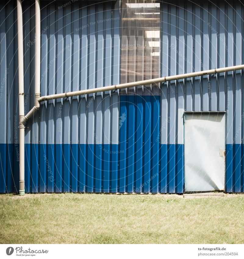 Green Blue Gray Building Architecture Door Facade Factory Pipe Manmade structures Warehouse Hall Storage Sharp-edged Conduit