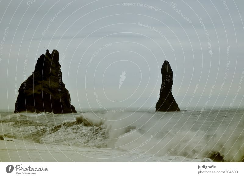 Iceland Environment Nature Landscape Water Sky Climate Rock Waves Coast Beach Ocean Vík í Mýrdal Exceptional Dark Fantastic Firm Wet Natural Strong Moody