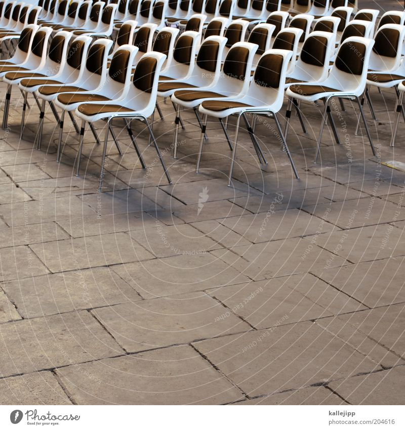 public viewing Design Event Chair Row of chairs Seating Equal Premiere Public viewing Colour photo Subdued colour Deserted Shadow Contrast Row of seats