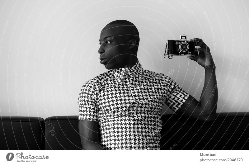 guy with camera Human being Youth (Young adults) Man White Young man 18 - 30 years Black Adults Style Fashion Design Masculine Elegant Retro Sit Photography