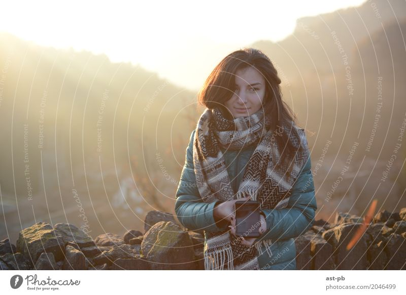 Cool morning Feminine Young woman Youth (Young adults) Air Sun Sunrise Sunset Sunlight Spring Autumn Beautiful weather Lightning Hill Rock Sweater Scarf