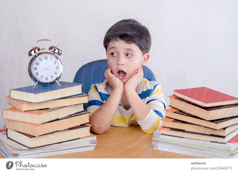 Bored student boy sitting on a chair Lifestyle Reading Parenting Education Kindergarten Child School Study University & College student Human being Toddler