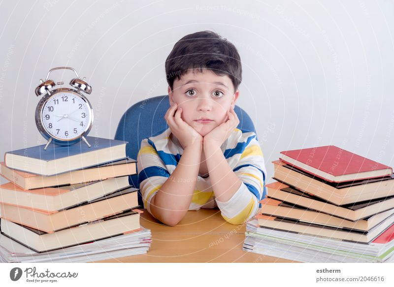 Boring schoolboy studying Lifestyle Reading Parenting Education Child School Study Classroom Schoolchild Student Human being Toddler Boy (child) 1 3 - 8 years