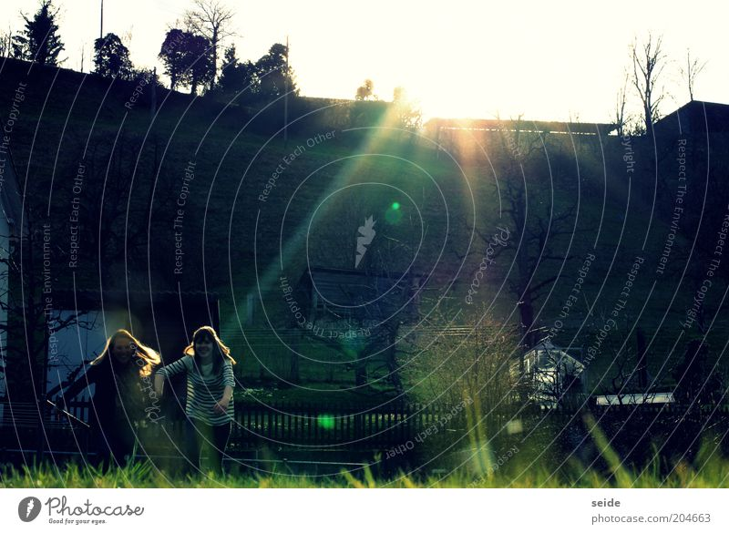 Human being Child Sky Nature Youth (Young adults) Sun Joy Life Meadow Landscape Warmth Laughter Happy Garden Friendship Running