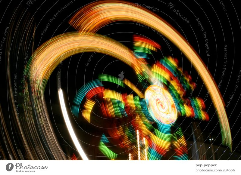 yippie yeah Night life Rotate Driving Flying Illuminate Carousel Fairs & Carnivals Colour photo Multicoloured Exterior shot Motion blur Feasts & Celebrations