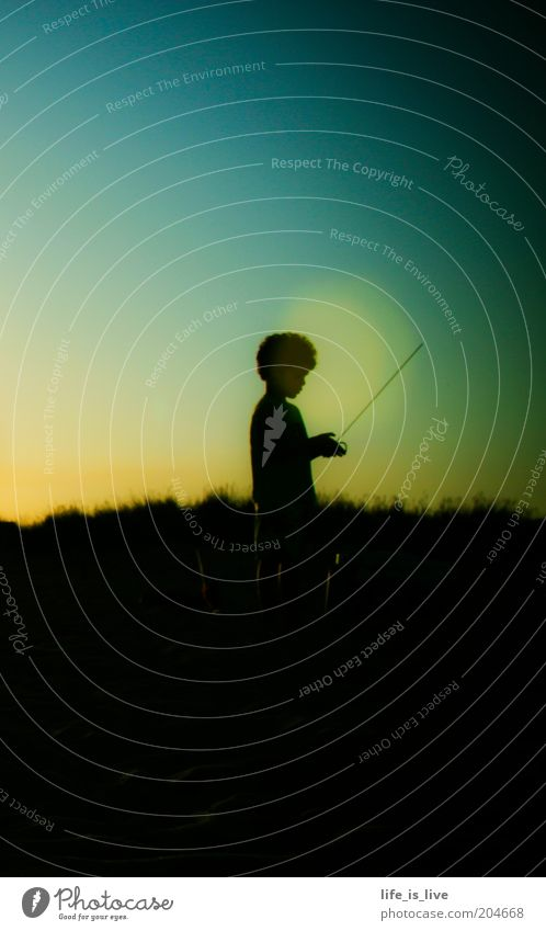 truly polite Boy (child) 1 Human being Sky Summer Afro Playing Stand Dark Life Longing Wanderlust Uniqueness Hope Infancy Colour photo Evening Twilight