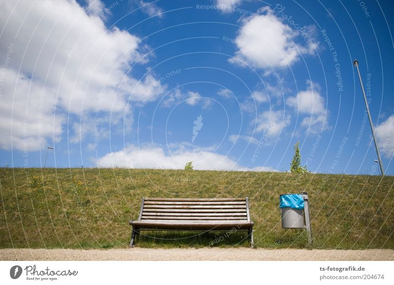Sky Green Blue Clouds Meadow Grass Lanes & trails Sand Empty Arrangement Bench Beautiful weather Furniture Stagnating Flagpole Trash container