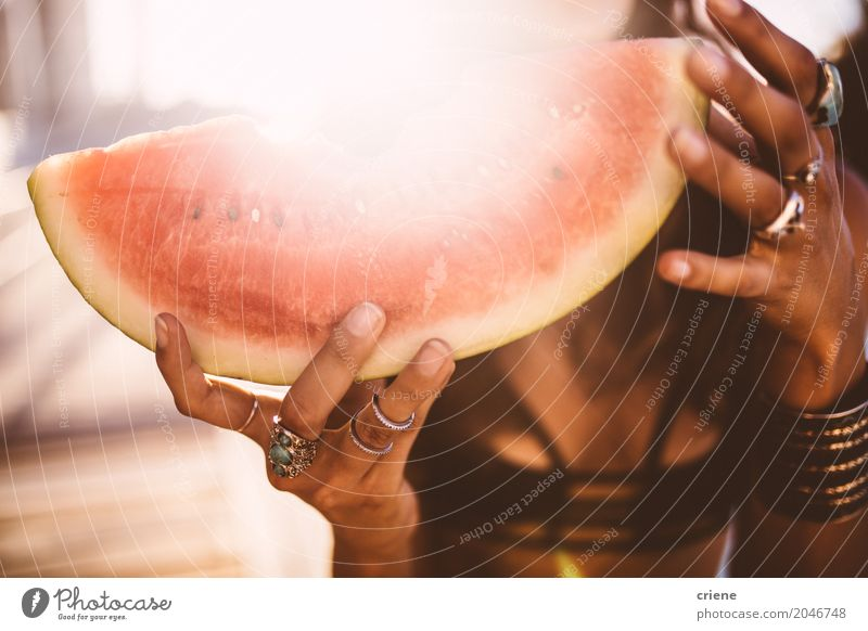 Close-up of woman holding slice of watermelon Food Fruit Nutrition Eating Vacation & Travel Summer Summer vacation Sun Sunbathing Woman Adults Hand Bikini