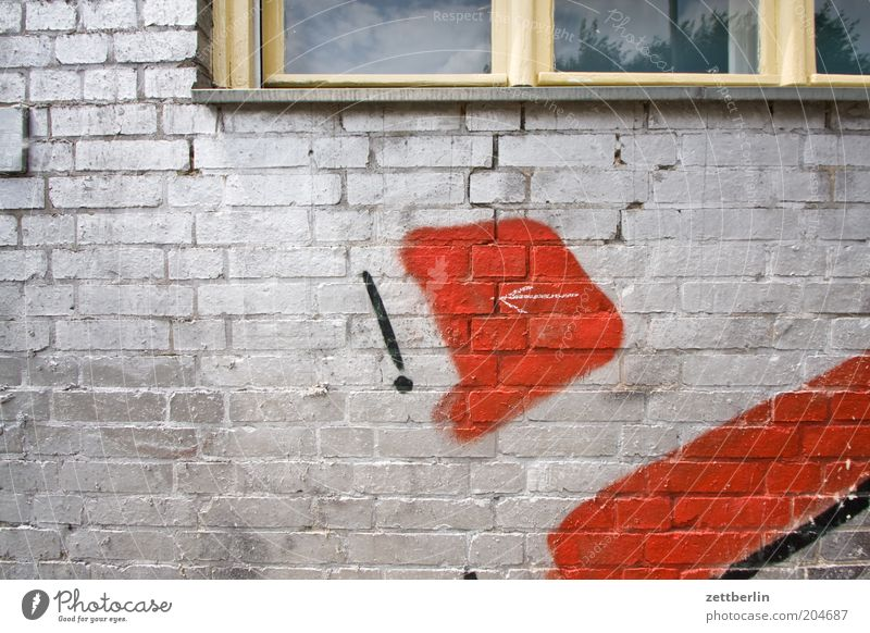 Red House (Residential Structure) Wall (building) Window Wall (barrier) Graffiti Facade Information Letters (alphabet) Arrow Silver Painted Window board